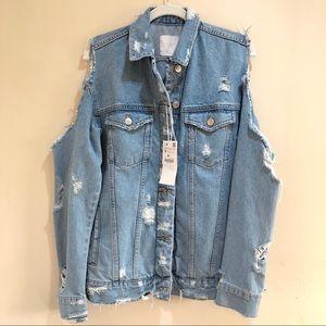 NWT Zara Cold Shoulder Denim Jacket  Size S